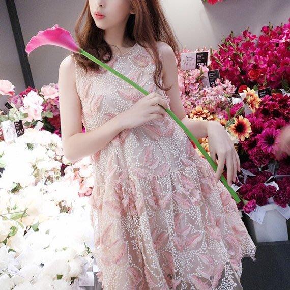 ❤Shinena 千奈公主❤韓國洋裝✈正品代購 訂製款 羽毛蕾絲刺繡造型無袖洋裝(粉,S,M,L)
