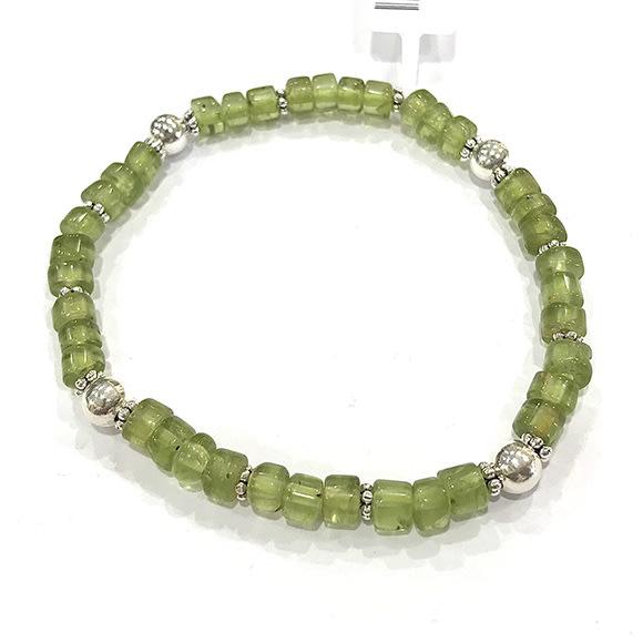 『純天然水晶量販』天然橄欖石 純銀手鍊 圓柱形 約5mm 半寶石 招財 太陽的寶石 幸運 希望 情人節 生日 禮物