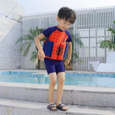 •*~ 辣媽咪衣飾小舖 ~*•❤泳裝系列 📣C550800可愛卡通兒童浮力泳衣(附泳帽)---蜘蛛俠