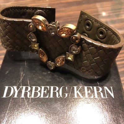 Dyrberg Kern❤️型水鑽真皮編織手帶