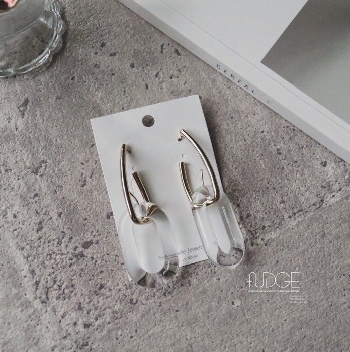FUDGE法橘 / 正韓 特價款 透明系列簡約百搭橢圓壓克力垂墜耳環/LE19606