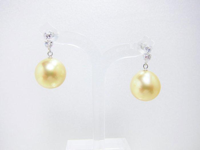 11.9-12mm南洋黃金珍珠K金耳環【元圓珠寶】