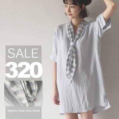 超哥小舖【T6059】輕柔舒適優雅純色立領搭格紋領巾短袖中長款連身裙襯衫上衣