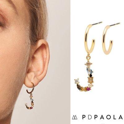 PD PAOLA 西班牙時尚潮牌 金色J字母耳環 彩鑽耳環 925純銀鑲18K金