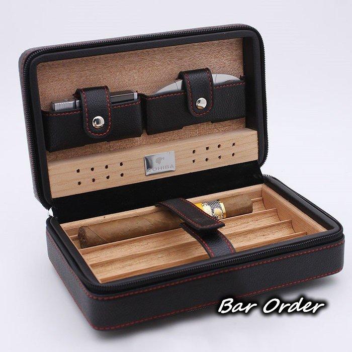 Bar Order~古巴COHIBA 攜帶式雪茄套裝組(雪茄打火機+隨身攜帶保濕雪茄套+雪茄剪)超低價現貨+預購