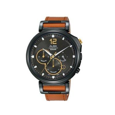 可議價「1958鐘錶城」ALBA雅柏 SPECIAL 男 廣告款三眼計時 石英腕錶(AT3D69X1) 44mm