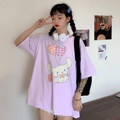小香風 短袖T恤 時尚穿搭 韓版 可愛兔子印花學院風寬松短袖T恤學生百搭上衣女