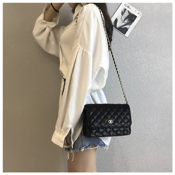 FINDSENSE X 韓國 女士 時尚菱格 多功能斜挎包 側背包 單肩包 小方包 菱格包