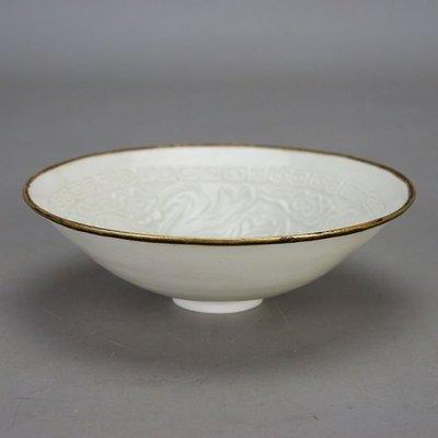 ㊣三顧茅廬㊣ 宋定窯包金內刻嬰戲紋碗 古董古玩