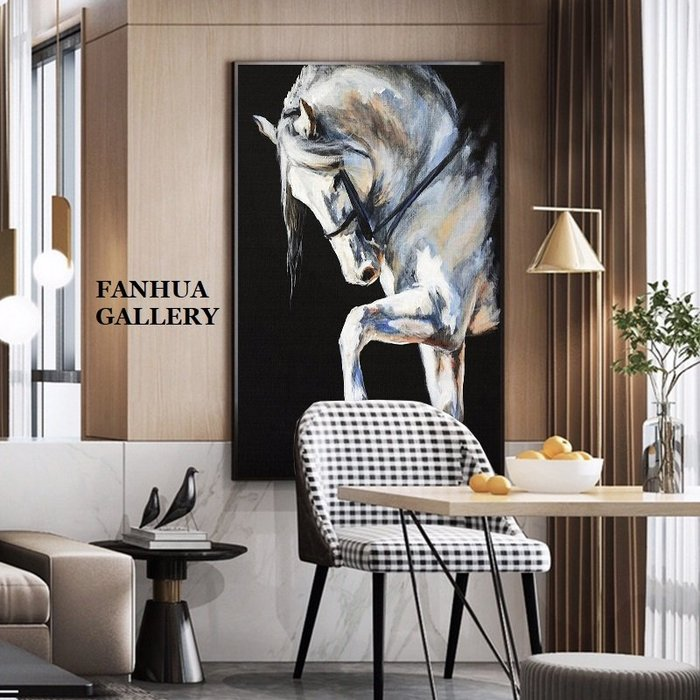 C - R - A - Z - Y - T - O - W - N 黑白駿馬水彩油畫風掛畫北歐輕奢客廳空間設計師裝飾畫