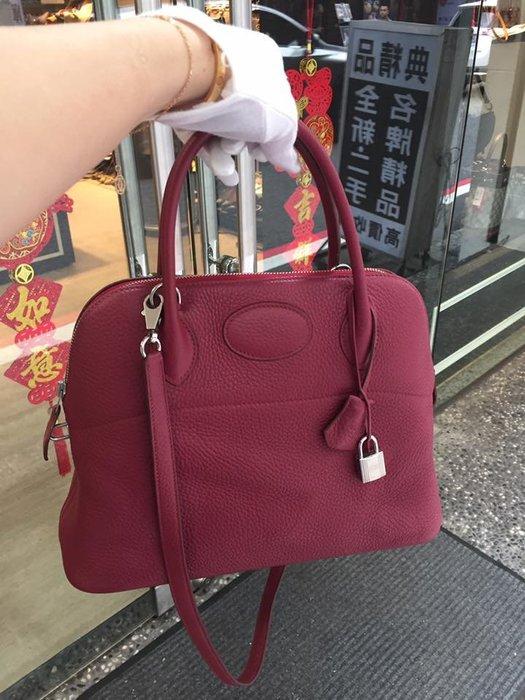 典精品名店 Hermes 愛馬仕 真品 B5 寶石紅 Bolide 柏麗包 31 cm 手提包 肩背包 T 現貨
