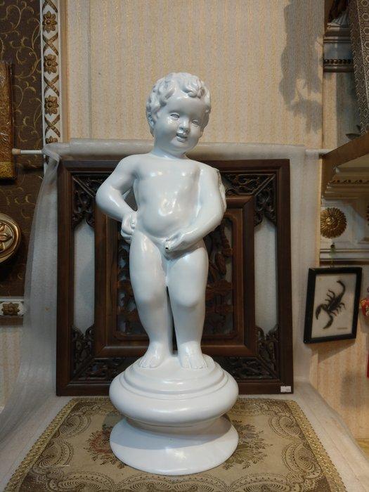 居家藝術,會場佈置,園藝造景-FRP -文藝復興-比利時 布魯塞爾-尿尿小天使 尿尿小童 撒尿小童像  白色約64公分