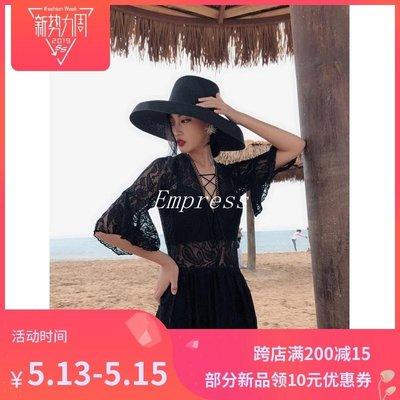 Empress丶連身泳衣女性感蕾絲鏤空大胸小胸鋼托聚攏性感遮肚顯瘦二件套大碼