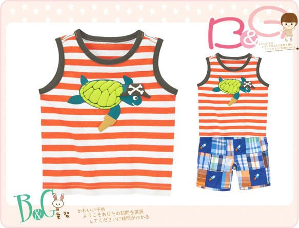 【B& G童裝】正品美國進口GYMBOREE Striped Turtle Tank 橘色條紋海龜圖樣背心上衣12-18mos