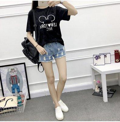 =DiuDiu=韓國首爾 時尚精品 東大門同步 早班車7177 金絲絨米奇大碼寬鬆短袖T恤