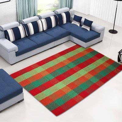 新款歐式現代滿鋪純棉大地毯客廳沙發茶幾臥室床邊地墊紅綠格170*230公分