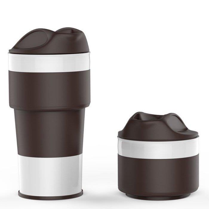 =86號店=歐美Jerrybox 400ml 便携可折叠食品級矽膠 冷熱飲水杯 隨手杯咖啡杯 咖色/粉紅如圖共二色