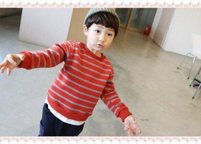 。~ 寶貝可愛 ~。韓國精選MIN99KIDS帥氣韓風,配色條紋假兩件上衣。現貨