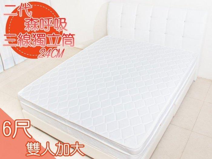 【DH】商品編號 R052商品名稱☆厚度24CM☆二代森呼吸標準雙人6尺三線高碳鋼床墊。台灣製可訂做。主要地區免運費