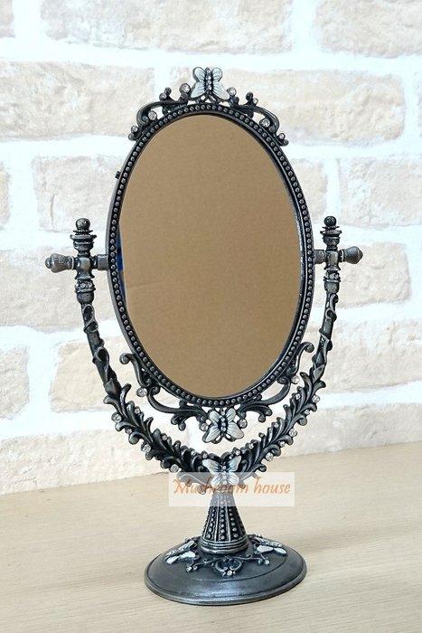 點點蘑菇屋 立體浮雕錫製蝴蝶小鑽單面桌鏡 化妝鏡 梳妝鏡子 古典鏡子 鄉村風 現貨 免運費