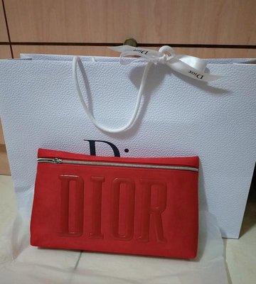 Dior迪奧美妝專櫃贈品(紅色麂皮化妝手拿包)全新附紙袋、緞帶
