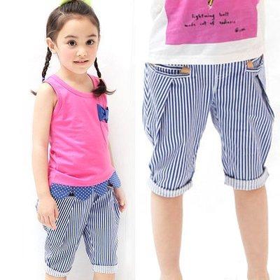 【班比納精品童裝】微彈性亮色條紋外出褲-藍 【BD150608007】
