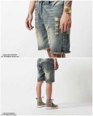 Cover Taiwan 官方直營 NINJA FRESH GANG 刀割破壞 水洗牛仔短褲 NFG 沙灘褲 (預購)