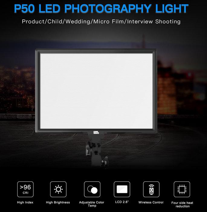 呈現攝影-PIXEL品色 P50平板LED燈 45W 2.6吋 雙色溫 雙電池 無線控制 攝影燈補光燈人像平板燈