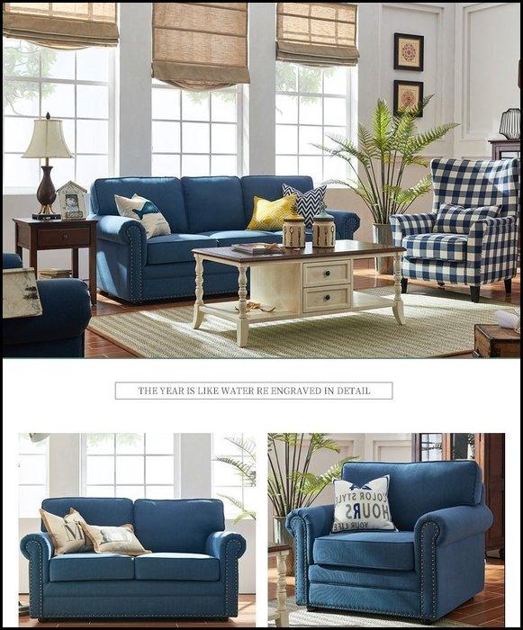 美式工業風 藍灰色布藝沙發 一人座單人布沙發 鄉村風簡約風鉚釘休閒椅客人椅另有兩人座三人座沙發.主人椅家具【歐舍傢居】