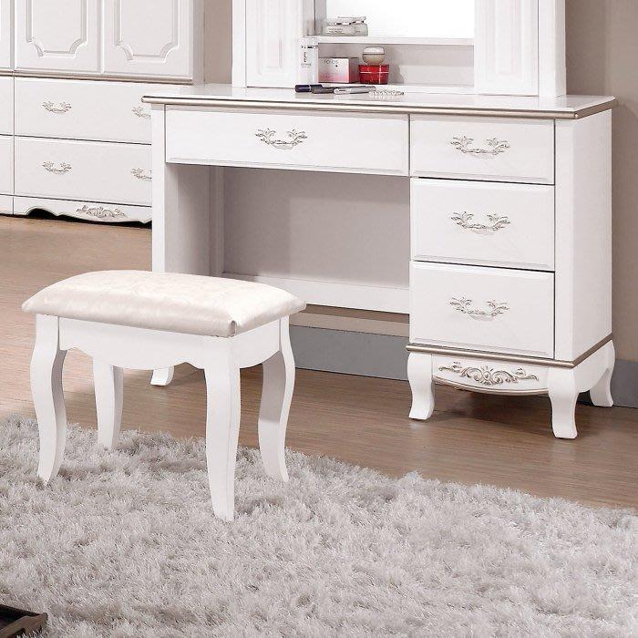 新悅傢俱訂製工廠/cnc加工訂做家具 18-4-115-4 諾維雅白色古典3.5尺化妝台/鏡台-下座含椅