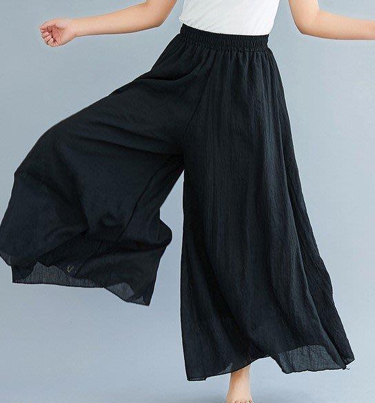 【An Ju Shop】原創設計文藝範 大碼優雅棉麻褲裙鬆緊腰薄款褶皺不規則大擺闊腿褲~CI033710
