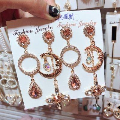 飾品925銀針 鑲鉆圓形 月亮不對稱 愛戀長款 耳環女 韓國氣質耳飾耳釘