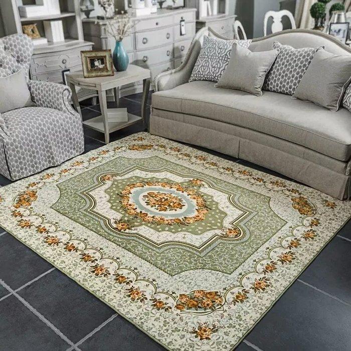 粉紅玫瑰精品屋~歐式高檔玫瑰客廳地毯 床邊毯~淺綠色130*190公分
