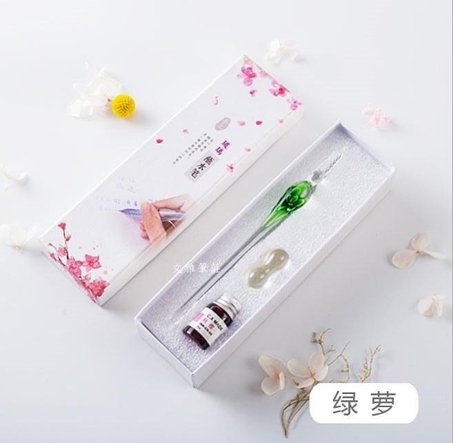 韓非子小舖~ 台灣現貨 水晶玻璃筆/蘸水筆/沾水筆書法鋼筆/嵌花玻璃筆