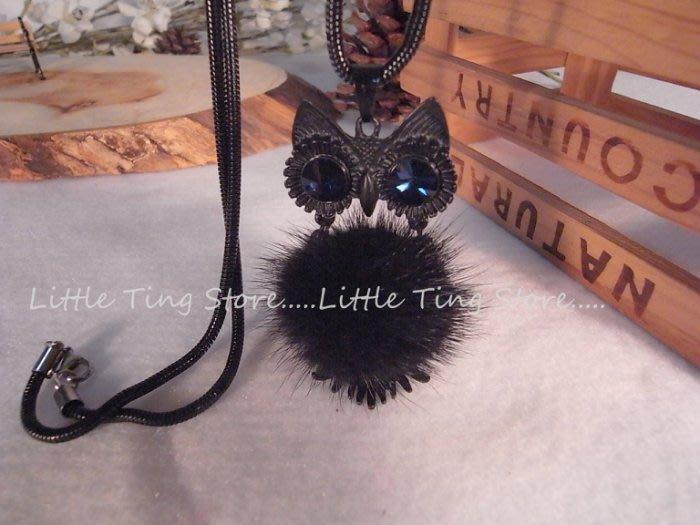 Little Ting Store 母親節禮物毛茸茸球球寶藍水鑚貓頭鷹長項鍊串鏈珠頸鍊