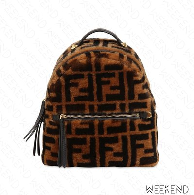 【WEEKEND】 FENDI Logo FF 刷毛 後背包