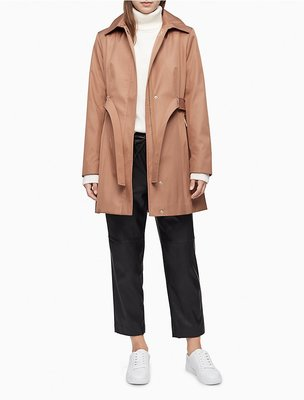 Calvin Klein Solid Belted Hooded Trench Coat