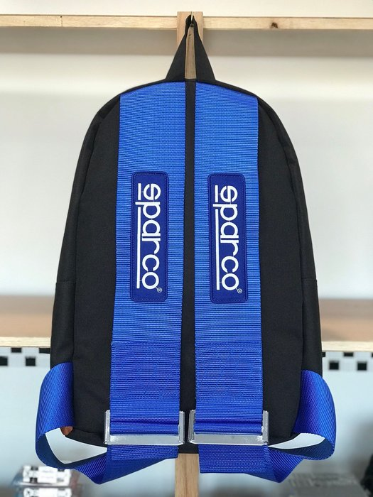 (I LOVE樂多)BRIDE SPARCO TAKATA JDM 後背包 藍底 藍色LOGO背帶 深灰色