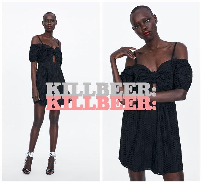 KillBeer:小姊姊等等我之 歐美復古氣質優雅絕黑刺繡簍空胸前綁帶露肩連身裙小洋裝061706