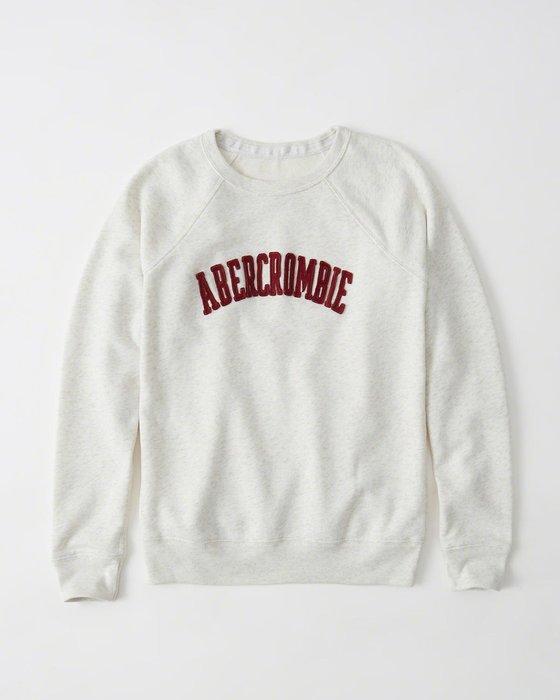 Maple麋鹿小舖 Abercrombie&Fitch * AF 米色貼布字母款長T * ( 現貨M/L號 )