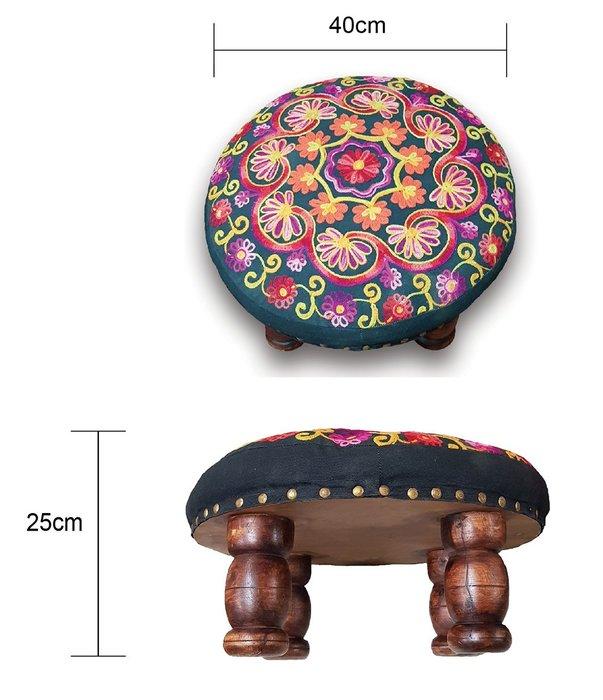 [綺異館] 印度椅子 手工精製 實木腳椅 小矮凳 穿鞋椅 休憩 札實 耐用不易變型 6A001 圓款
