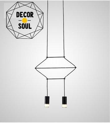 DS北歐家飾§ loft工業風 平面幾何圖型造型LED雙頭吊燈 美式簡約後現代酒吧餐廳裝潢設計師兒童房創意吧檯長款吸頂燈