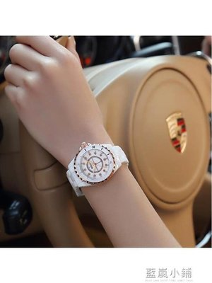 陶瓷女錶正品白色韓版簡約石英錶夜光防水手錶女水鑽學生潮流時尚QM