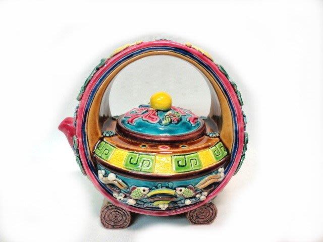 *藏雅軒*交趾陶-居家風水開運商品-雙魚圓月提樑壺付證書-1712
