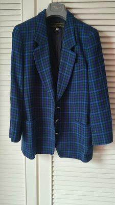 日本皇室品牌蕾儷昂Leilian天海祐希愛牌藍格羊毛翻領西裝