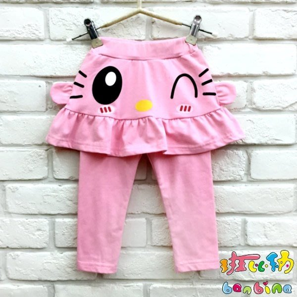 【班比納精品童裝】寶寶彈力薄棉眨眼裙褲-粉【BB18100402】