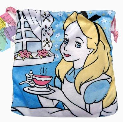 【卡漫迷】 愛莉絲 束口袋 粉藍 ㊣版 絨毛 收納袋 小提包 萬用包 相機 小物 愛麗絲 夢遊仙境 Alice 化妝品