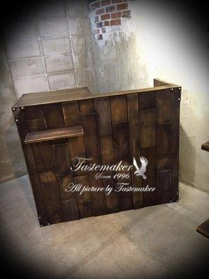 法國仿舊鐵藝 TASTEMAKER LOFT 法式 工業風 仿古 服飾店 手工造舊 櫃台 實木拼貼櫃檯2