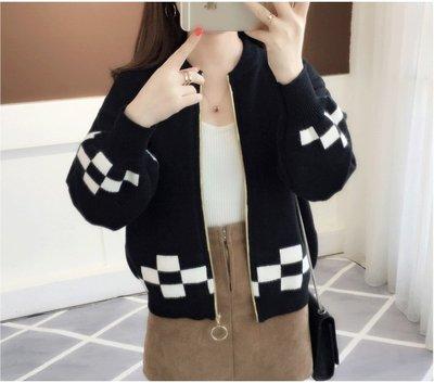 Color Fashion秋季韓版短款拼色外搭針織開衫寬鬆燈籠袖毛衣外套 G825144正韓女裝外套