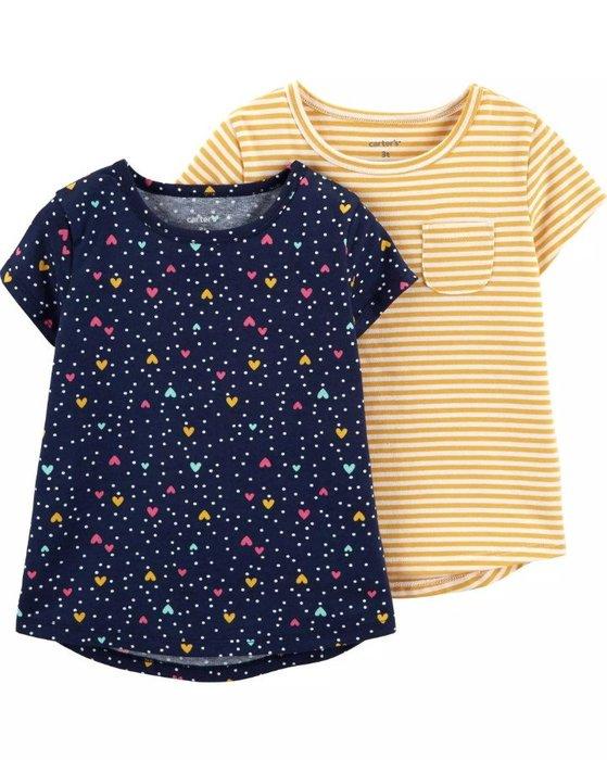 【Carter's】CS女童短袖黃白條+滿愛心藍T二件組 F03190830-10